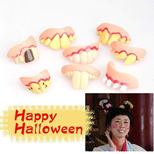 XuBa Prank Startle Tooth Halloween Gruselige Krümmte Monster Zähne Neuheit Streichel Ugly Witz Simulated Zahnaufkleber Wie abgebildet