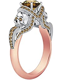 Silvernshine 1.52Ct Citrine CZ Diamond 14K Rose & White Gold PL Engagement Two Skull Design Ring