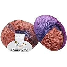 Chunky gomitoli di lana, Yoyoug 1PC 50g tessuta a mano, molto morbida arcobaleno colorato maglia punteggi misto lana filato misto colore morbido, confortevole, può essere indossato a contatto con la pelle, adatto per bambini, D, taglia unica