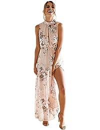 HOMEBABY Chiffon Floreale Abiti Lunghi Donna Eleganti - Estivi Vestiti  Casual Donna - Vintage Maxi Abito 95ecfbd777e