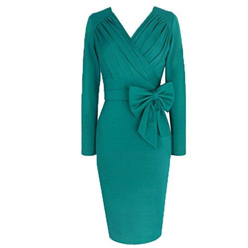 WintCO Damen Langarm Bleistiftkleid mit Schleife V-Ausschnitt Pencilkleid Etuikleid Abendkleid Folds Kleider Hellgrün