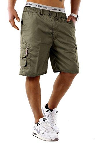 Max Men Herren Cargo Shorts Basic Bermuda Capri Hose Walkshort H748 Khaki
