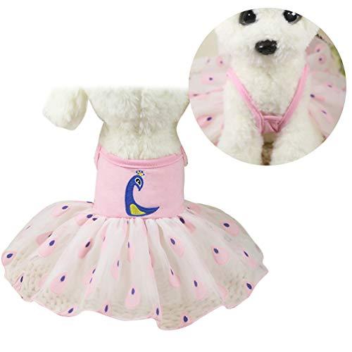 Lykke. Niedlichen Kleid Hund Welpen Rock Hochzeitskleid Pfau Haustier Kleid Hund Party Dress Up Pet Mantel Kostüm Set - ()