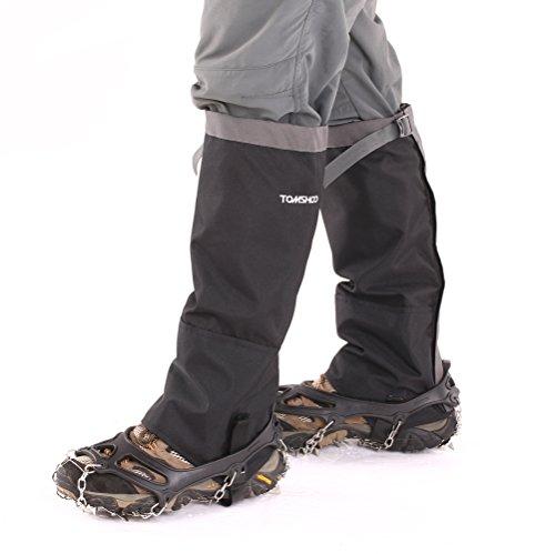 TOMSHOO Schuhspikes mit 19 Zähnen, Grödel, Spikes Satz und Wasserdichte Gamaschen Gaiter für Schnee Ski Wandern Klettern (Ski-tragen-satz)