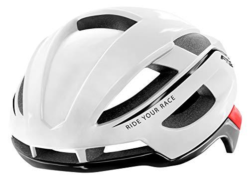 R&R Rennradhelm AERO| Fahrradhelm | Radhelm | Mountain Bike | MTB-Helm | Triathlon-Helm für Damen und Herren (weiß/rot, M (54-58cm))