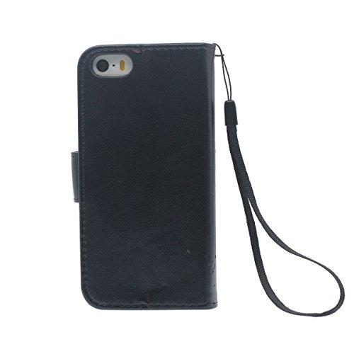 Custodia Apple iPhone 5 5S 5G, iPhone SE Case Portafoglio Carta Titolare Design Pelle Cover protettiva Pure Color Albero Modello Serie Elegante Aspetto Nero
