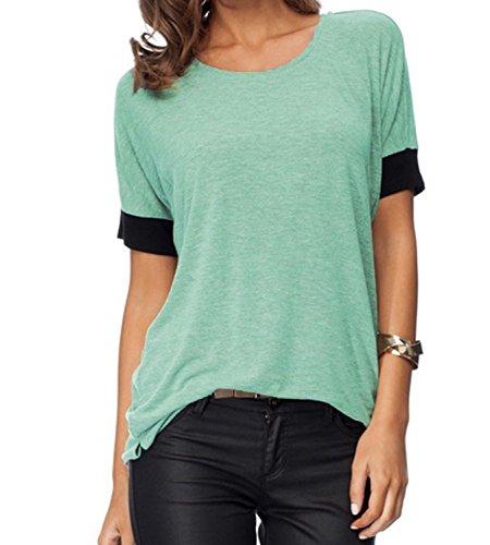 Damen Lässig ZJCTUO Kurzarm Rundkragen Bunt Atmungsaktiv Mode T-Shirt Tops (42, Minze)