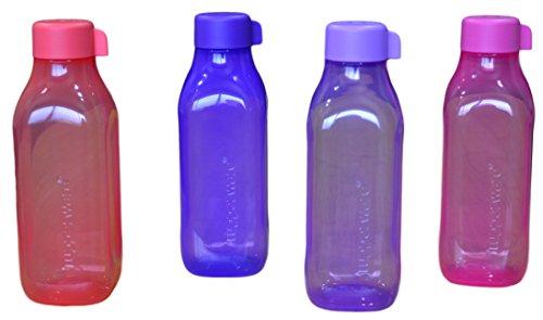 Tupperware Aquasafe Plastic Water Bottle Set, 1 Litre, Set of 4, Multicolour (Tup_B01LY83TUY)