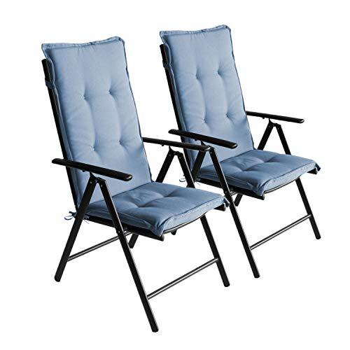 Wohaga 2er Set Komfort Sitzauflage Indigo, 123x44x5cm, UV- & Wasserbeständig, Hochlehner Sitzkissen, Outdoorkissen
