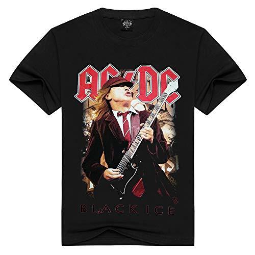 ZRJRJ Männer/Frauen Baumwolle T-Shirt AC/DC Rock Band T-Shirt Sommer T-Shirt Männer Solid Black Männer Tops lose T-Shirts,XXXL
