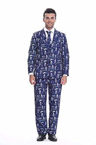 YOU LOOK UGLY TODAY Modisch Herren Party Anzug Halloween Kostüme Party Suits Festliche Anzüge mit lustigen Skeletten Mustern - Schwarz/S (80's Halloween Kostüme Männer)