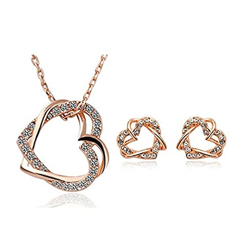 Lily Jewelry Sparkly Double Love Heart Shaped Full Rhinestone Necklace & Earrings Jwellery Set for women
