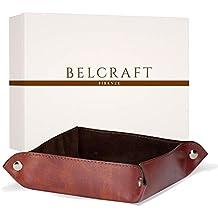 Belcraft lari Svuotatasche in Pelle Riciclata, Realizzato a Mano da Artigiani Toscani, Porta Oggetti, Marrone (18x18 cm)