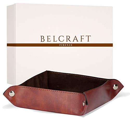Brown Italienischen Leder Handgefertigt (Lari Taschenleerer aus recyceltem Leder, Handgearbeitet in klassischem italienischem Stil, Ordentlich Tablett, Braun (18x18 cm))