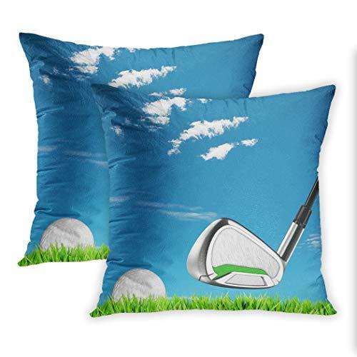 Nekkzi Cushion Covers Set of Two Print Blue Course Golf Green Ball Club Field Grass Idyllic Meadow Season Sofa Home Decorative Throw Pillow Cover 18x18 Inch Pillowcase Hidden Zipper -