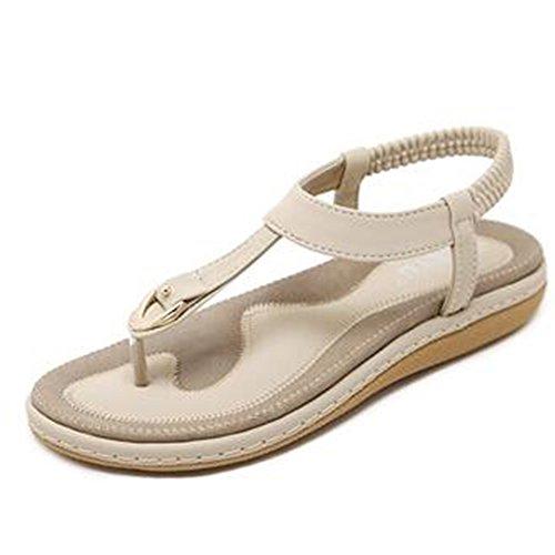 Amazing saison d'été Sandales Femme Xia Pingdi Mode Étudiant Retro Clip Pied Plage Chaussures Grande Taille Après 4cm Haut Talon (Plusieurs Couleurs Disponibles) (Taille Facultatif) casual
