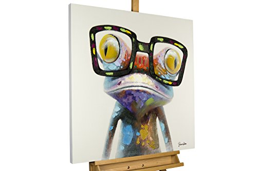 KunstLoft® Acryl Gemälde 'Sei kein Frosch' 80x80cm   original handgemalte Leinwand Bilder XXL   Cooler bunter Frosch mit Brille für Mädchen & Jungen   Wandbild Acrylbild Moderne Kunst mit Rahmen