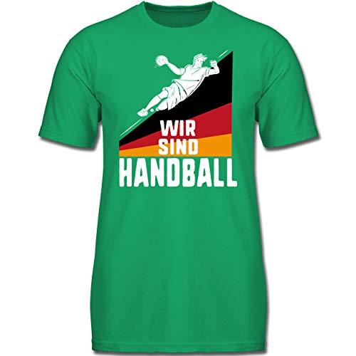 Handball WM 2019 Kinder - Wir sind Handball! Deutschland - 164 (14-15 Jahre) - Grün - F130K - Jungen Kinder T-Shirt