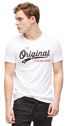TOM TAILOR Denim für Männer T-Shirt T-Shirt mit Logo-Motiv White S (S/s Shirt Denim)