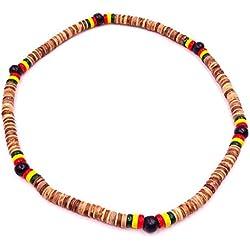 Collar Surf surfista étnico mango de madera, diseño de perlas, color marrón, madera, color negro, diseño de Tribal-Braga de cuello para hombre, diseño de niño con colgante para mujer