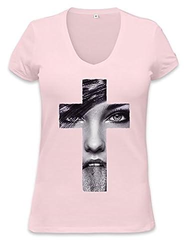 Girl Face Cross Womens V-neck T-shirt XX-Large