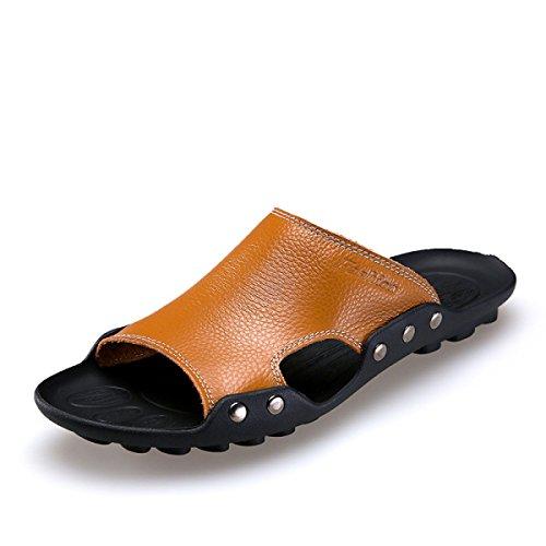Lxxamens Été Plage Mâle Pantoufle En Cuir Véritable Sandales Chaussures De Randonnée Brun
