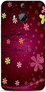 Snoogg Cute Flower Graphic Designer Protective Back Case Cover For HTC M9 Plus