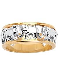 Palm Beach Jewelry - Anillo bicolor - Bañado en oro de 14k - Caravana de elefantes