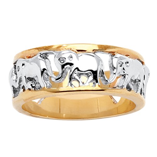 Palm Beach Jewelry - Anillo bicolor - Bañado en oro de 14k...