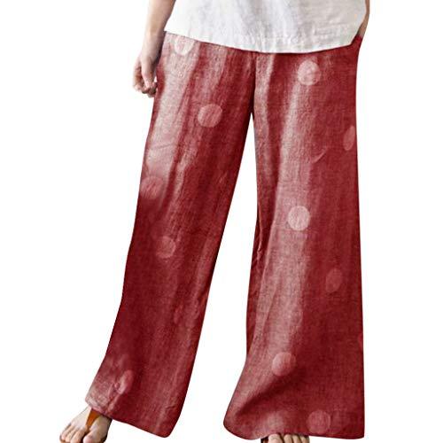 WOZOW Stoffhose Damen Weites Bein Palazzo Hosen Anzughose Bettwäsche Baumwolle Polka Dots Print Bedrucktes Druck Loose Long Casual High Waist Crop Trousers (XL,Rot)