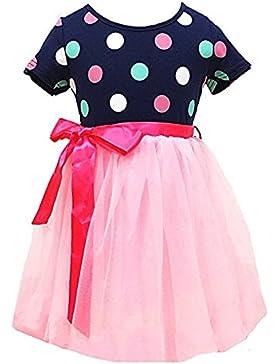 Little Hand Bambini Ragazze Principessa Abito Tulle Vestito Estivo Bowknot Pois Vestito per l'anno 2-7