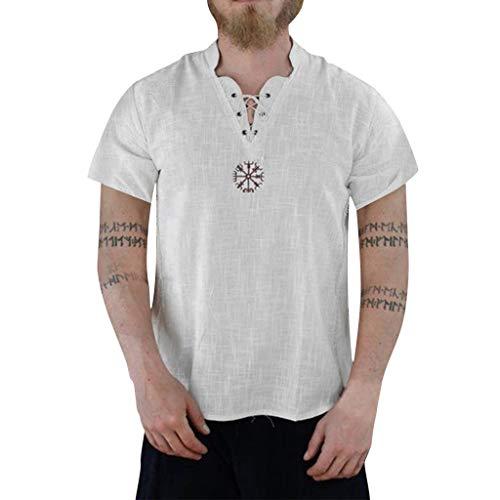 Lurex-karo-shirt (BHYDRY Herren Sommer Fashion aus Reiner Baumwolle und Hanf Kurzarm bequemes Top)