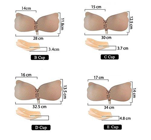 Soutiens-gorge autoadhésifs, CuOmix Push-up Sans Bretelles de Silicone Réutilisables Invisible Bra Beige foncé