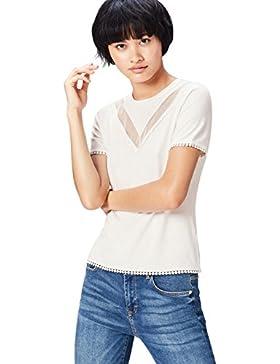 [Patrocinado]FIND Camiseta de Pasamanería y Rejilla Para Mujer