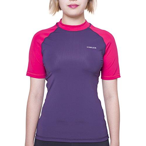 H.MILES Damen Rash Guard Kurzarm Swim Rashguard Surf Shirt UV-Schutz (UPF) 50+ UV-Shirt