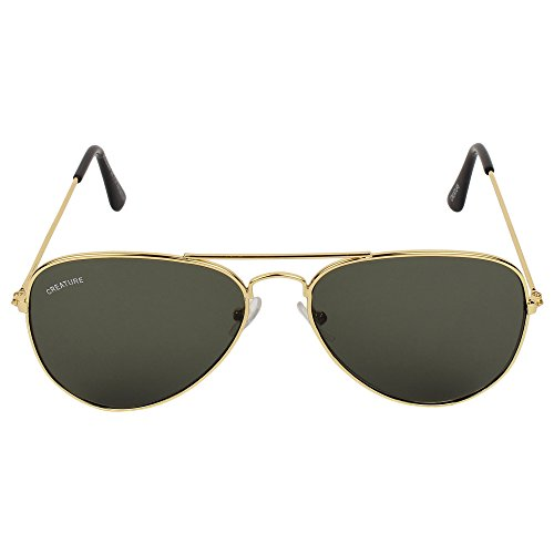 Creature Aviator UV Protected Sunglasses (Lens-Green||Frame-Golden||RST-001)