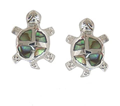 Abalone Paua Shell & 925 Sterling Silver Turtle Studs Earrings