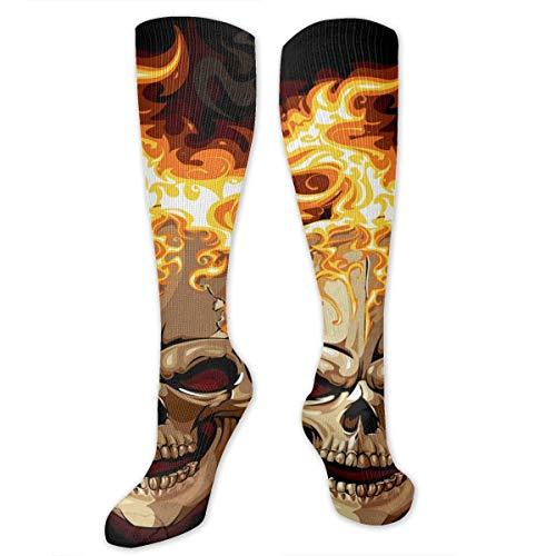 NFHRREEUR Men Women Knee High Socks Fire Happy Halloween Skull Skeleton Compression Socks Sports Athletic Socks Tube Stockings Long Socks Funny Personalized Gift Socks