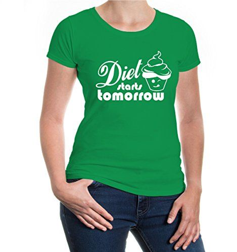 Girlie T-Shirt Diet starts tomorrow-XXL-Kellygreen-White (Abnehmen Maillot)