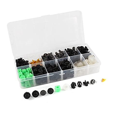 sourcingmap® Motor Door Bumper Clip Plastic Rivet Kit 250 Pcs