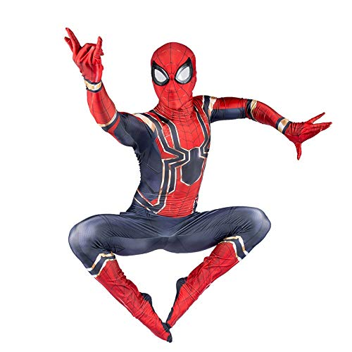 COSTUME Super Fantasia Spiderman Cosplay Avengers Iron Spiderman Bambino Adulto Halloween Fancy Dress Party Movie Party Puntelli Oggetti di Scena (Color : Adult , Size : XXL )