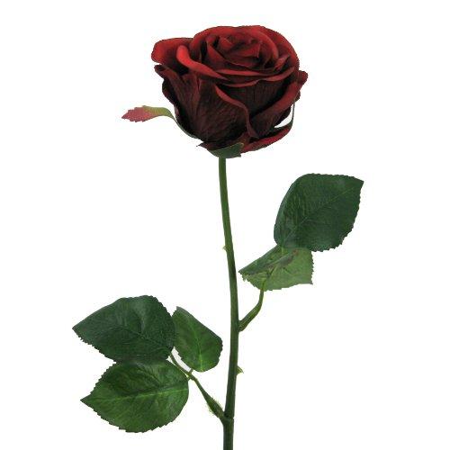 Kunstblumen 6 Rosen Wasserstiel 47,5cm. Farbe ROT -01