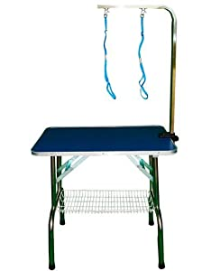 Dog Cat Grooming Table 81cm x 52cm x 78cm Stainless Steel Frame and Legs Adjustable Portable Folded by KMS