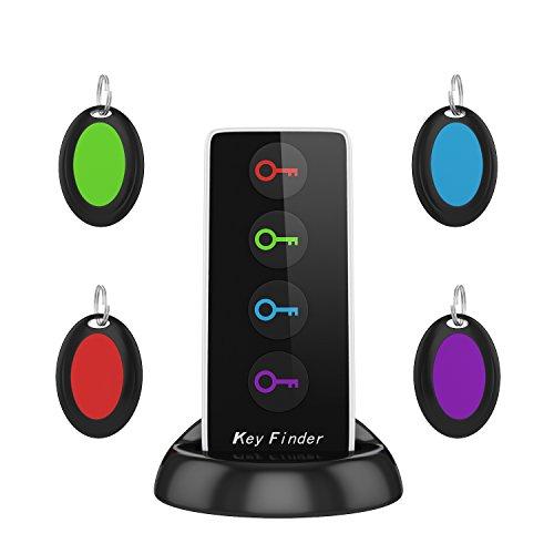 AOGUERBE Localizador de llaves Wireless Key Finder Buscador de Llaves Inalámbrico con Base de Soporte LED Linterna Teléfonos Rastreador Inteligente Cualquier Cosa Locador [4 Receptores y 1 Transmisor]