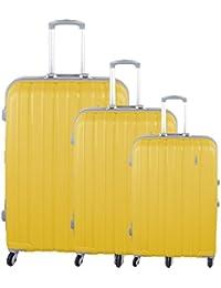 Linder Valises 3pièces PP Trolley Voyage Trolley Set cadre en aluminium style Cadenas, jaune, S. M. L.