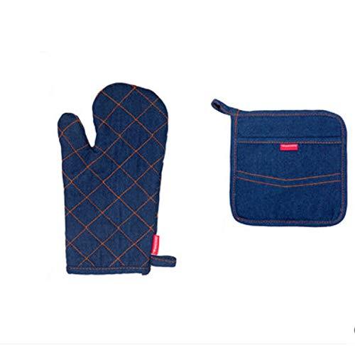 Isolationshandschuhe Hochtemperatur-Verbrühschutzhandschuhe mit Isolationspad Einbrennofen Mikrowelle Verdickungshandschuhe (Color : Blue, Style : Gloves+Insulation pads)