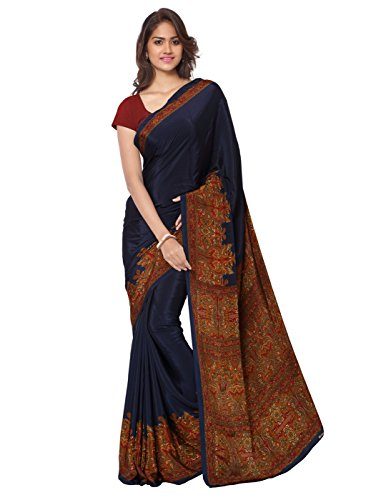 Ligalz Women's Crepe Saree With Blouse Piece (L0111314$P_Blue)