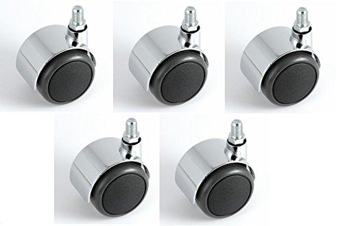 Satz Stuhlrollen Chrom 50 mm Gewinde 10 ohne Bremse mit PU-Bereifung grau spurlos für harte Böden Hartbodenrolle
