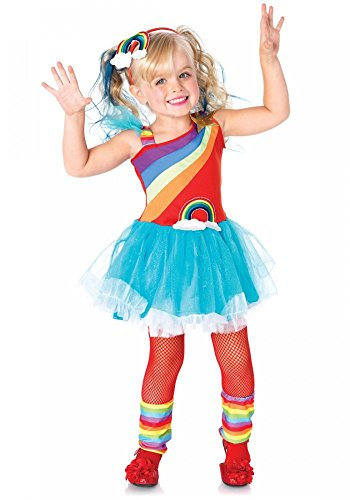 shoperama Rainbow Doll Mädchen Kostüm von Leg Avenue Kinderkostüm Regenbogen Kleid, Kindergröße:104 - 3 bis 4 Jahre