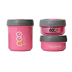 Tuelip Tedemei Dabu-Food 3 Containers Lunch Box For Office,School And Out Door - Pink